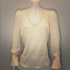 NEW Hinge Sheer Lace Blouse in Ivory size Large